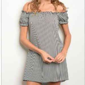 Striped off shoulder mini dress tunic sz S